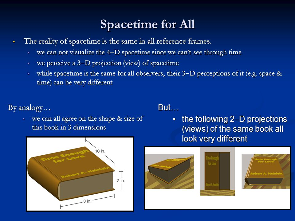Spacetime for All The reality of spacetime is the same in all reference frames. The reality of spacetime is the same in all reference frames. we can n