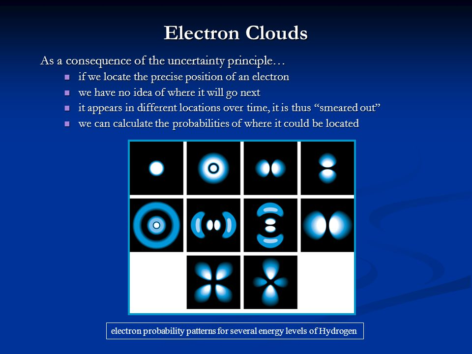 Electron Clouds As a consequence of the uncertainty principle… if we locate the precise position of an electron if we locate the precise position of a