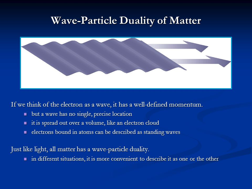Wave-Particle Duality of Matter If we think of the electron as a wave, it has a well-defined momentum. but a wave has no single, precise location but