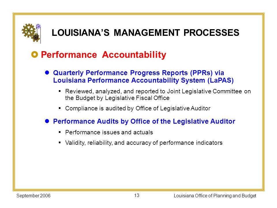 September 2006Louisiana Office of Planning and Budget13 Performance Accountability Quarterly Performance Progress Reports (PPRs) via Louisiana Perform