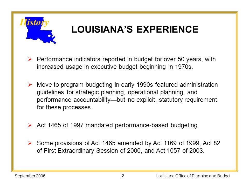 September 2006Louisiana Office of Planning and Budget2 LOUISIANAS EXPERIENCE History Performance indicators reported in budget for over 50 years, with
