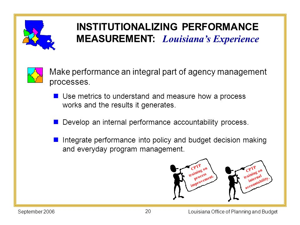 September 2006Louisiana Office of Planning and Budget20 Make performance an integral part of agency management processes. Use metrics to understand an