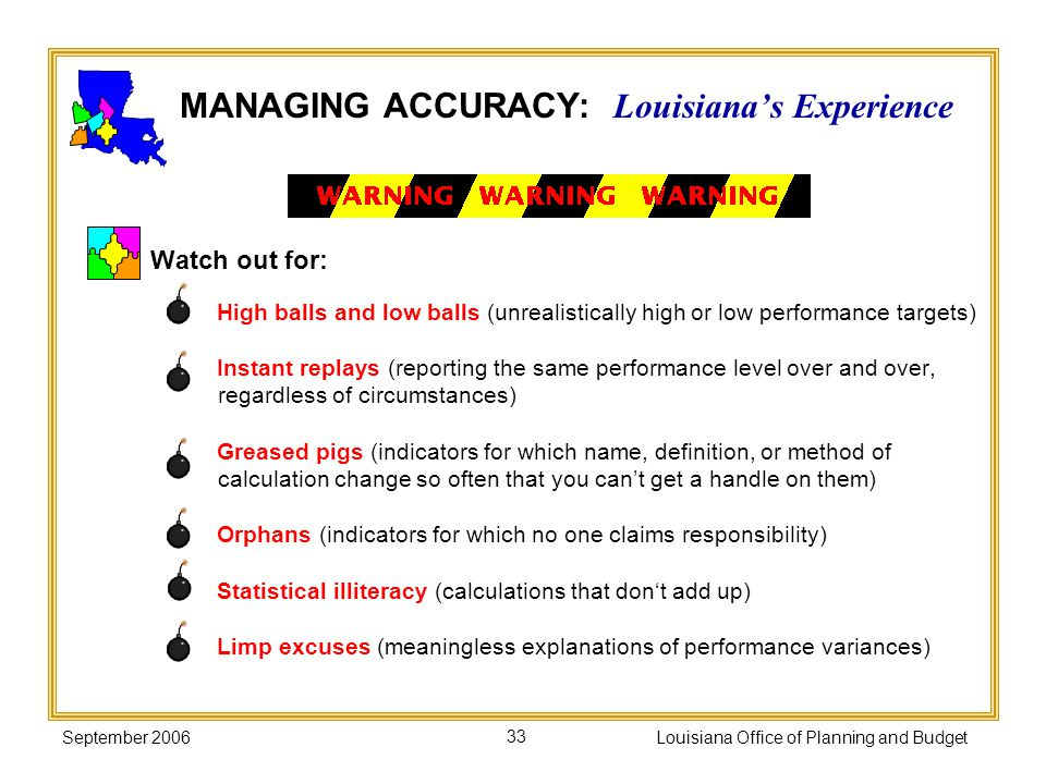 September 2006Louisiana Office of Planning and Budget33 MANAGING ACCURACY: Louisianas Experience Watch out for: High balls and low balls (unrealistica