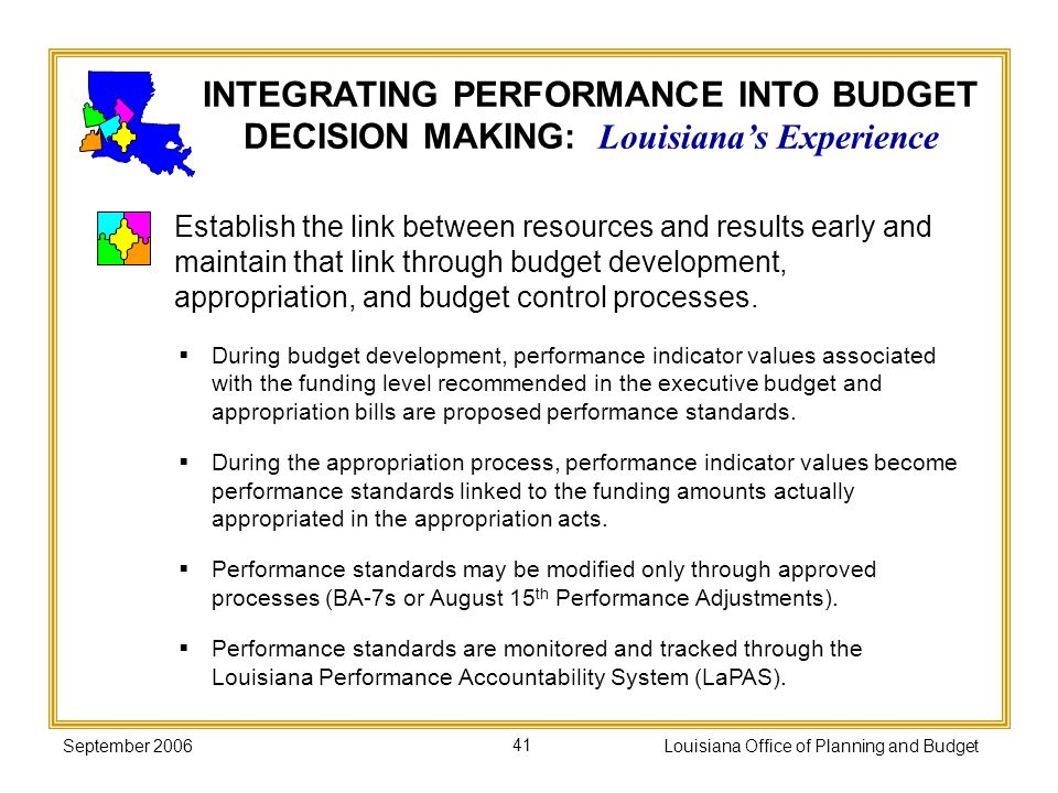 September 2006Louisiana Office of Planning and Budget41 During budget development, performance indicator values associated with the funding level reco