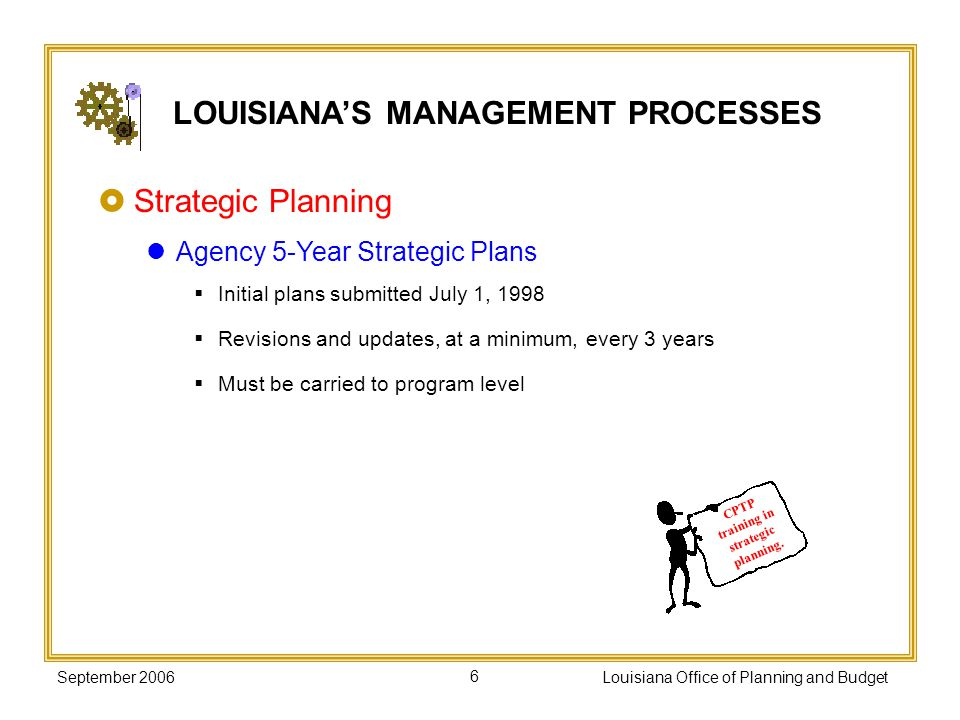 September 2006Louisiana Office of Planning and Budget6 Strategic Planning Agency 5-Year Strategic Plans Initial plans submitted July 1, 1998 Revisions