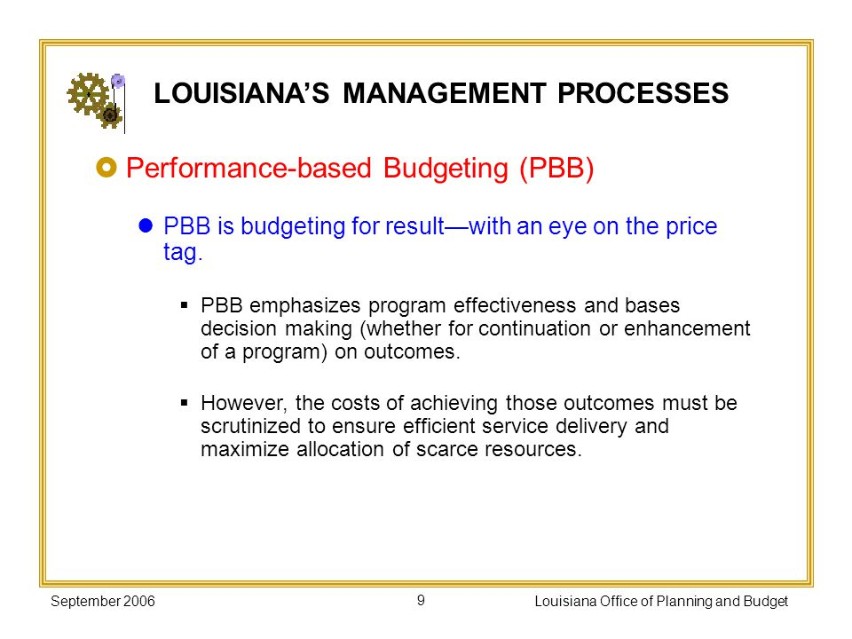 September 2006Louisiana Office of Planning and Budget20 Make performance an integral part of agency management processes.