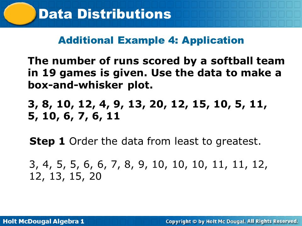 Holt McDougal Algebra 1 Data Distributions Additional Example 4: Application The number of runs scored by a softball team in 19 games is given. Use th