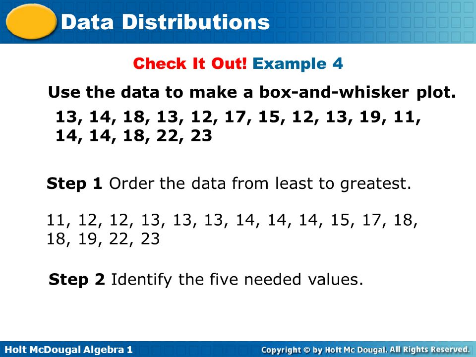 Holt McDougal Algebra 1 Data Distributions Use the data to make a box-and-whisker plot. 13, 14, 18, 13, 12, 17, 15, 12, 13, 19, 11, 14, 14, 18, 22, 23