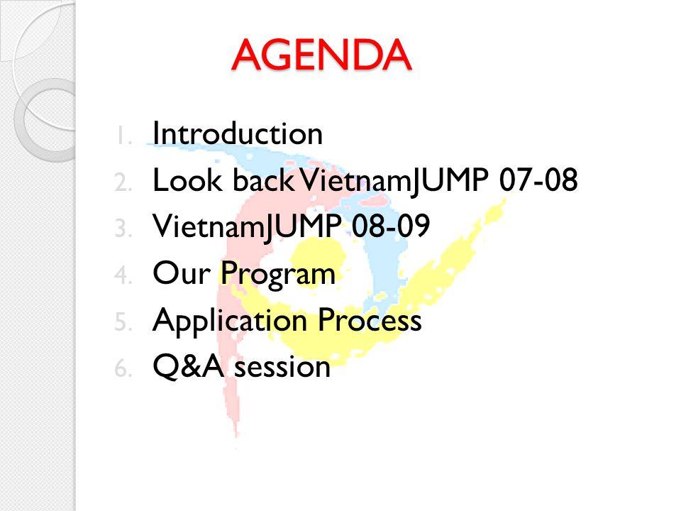 AGENDA 1. Introduction 2. Look back VietnamJUMP 07-08 3.