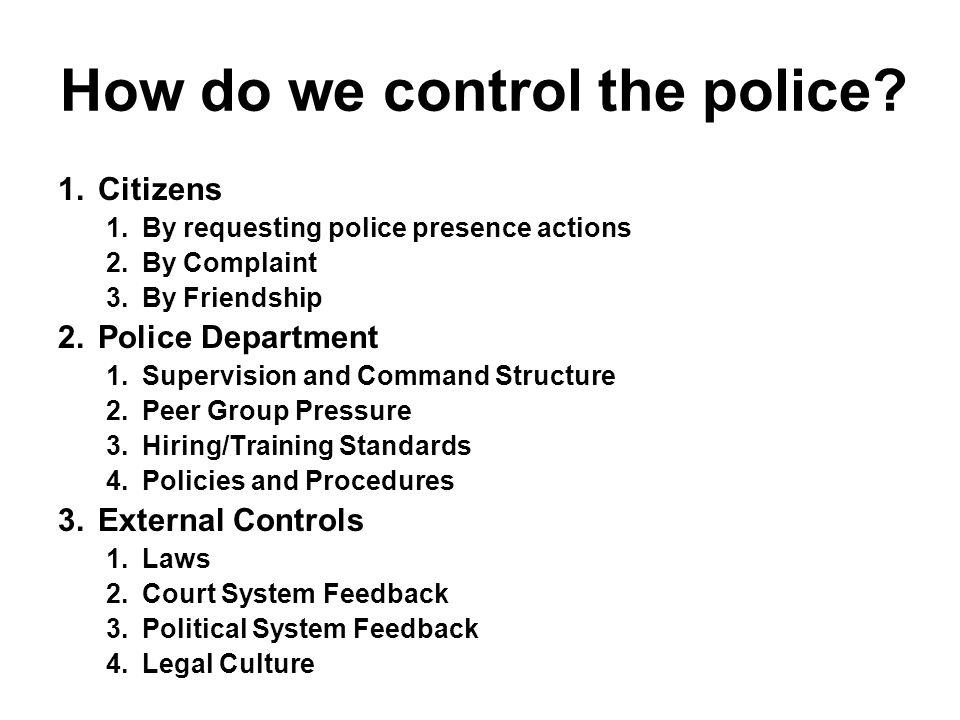 Written Policy Directives (Police Agencies with more than 100 Sworn Officers) Local Sheriff State Police Depts.