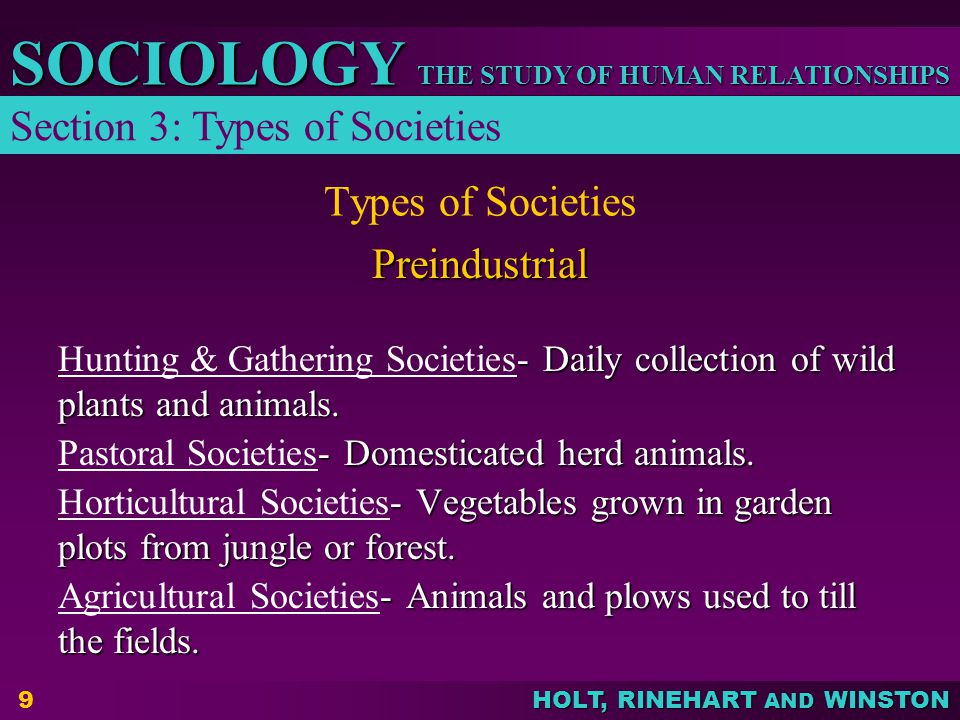 THE STUDY OF HUMAN RELATIONSHIPS SOCIOLOGY HOLT, RINEHART AND WINSTON Types of Societies – emphasis shifts from the production of food to the production of manufactured goods made possible by changes in production methods Industrial – emphasis shifts from the production of food to the production of manufactured goods made possible by changes in production methods – much of the economy is involved in providing information and services.