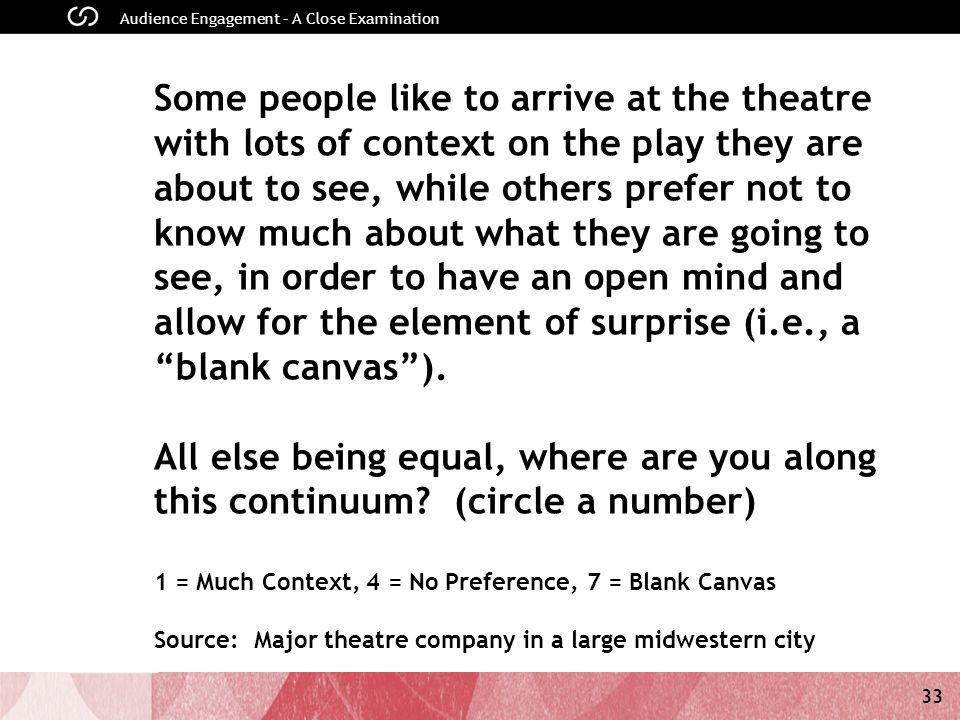 33 Audience Engagement – A Close Examination Some people like to arrive at the theatre with lots of context on the play they are about to see, while others prefer not to know much about what they are going to see, in order to have an open mind and allow for the element of surprise (i.e., a blank canvas).