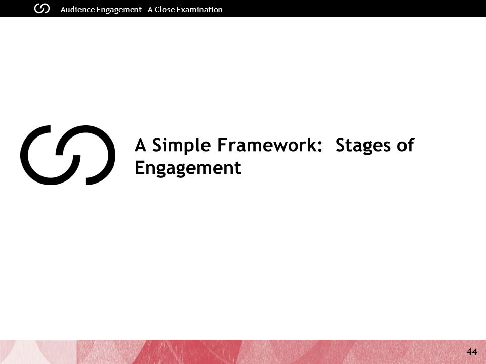 44 Audience Engagement – A Close Examination A Simple Framework: Stages of Engagement