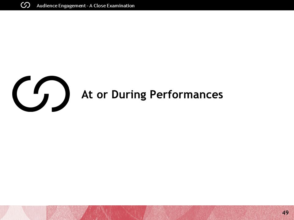 49 Audience Engagement – A Close Examination At or During Performances