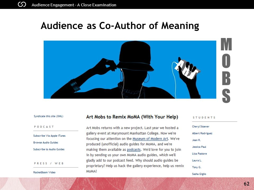 62 Audience Engagement – A Close Examination Audience as Co-Author of Meaning