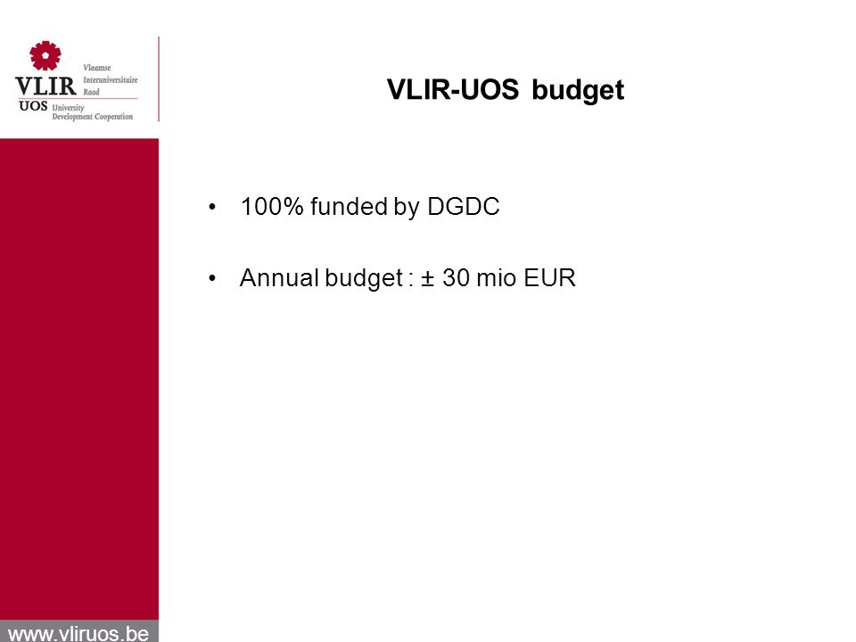 www.vliruos.be VLIR-UOS budget 100% funded by DGDC Annual budget : ± 30 mio EUR