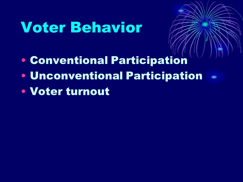 Voter Behavior Conventional Participation Unconventional Participation Voter turnout