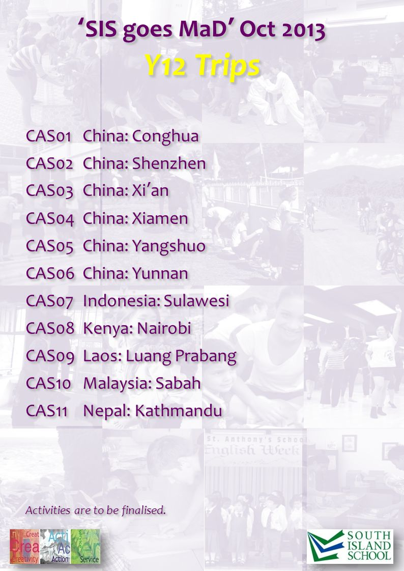 CAS01China: Conghua CAS02China: Shenzhen CAS03China: Xian CAS04China: Xiamen CAS05China: Yangshuo CAS06China: Yunnan CAS07Indonesia: Sulawesi CAS08Kenya: Nairobi CAS09Laos: Luang Prabang CAS10Malaysia: Sabah CAS11Nepal: Kathmandu Activities are to be finalised.