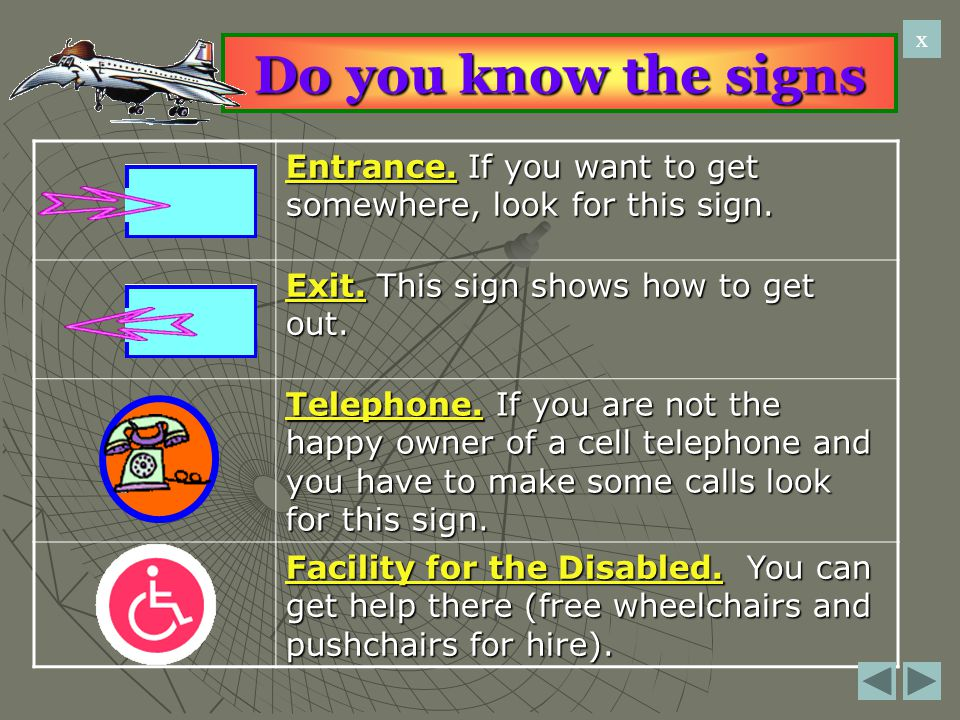 Do you know the signs Entrance. If you want to get somewhere, look for this sign. Exit. This sign shows how to get out. Telephone. If you are not the