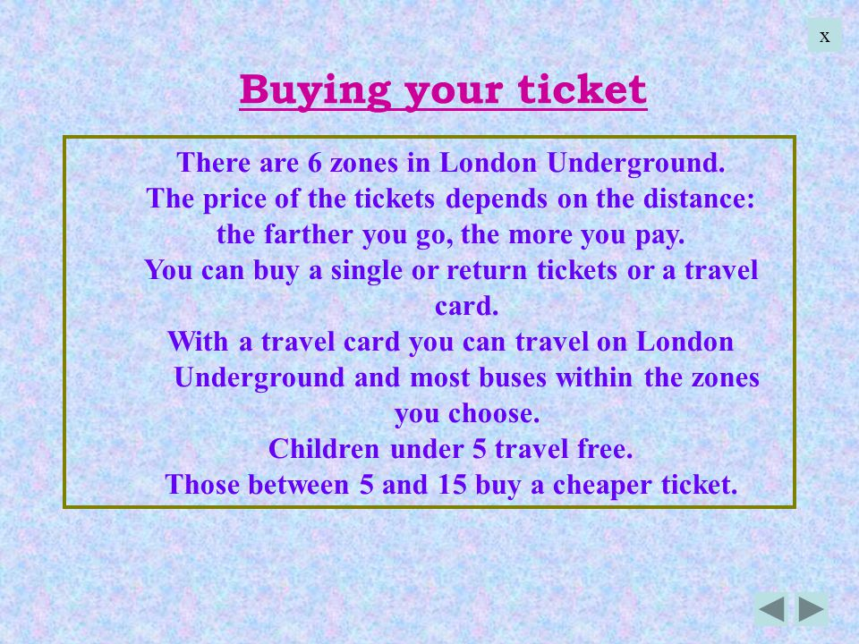 Buying your ticket There are 6 zones in London Underground. The price of the tickets depends on the distance: the farther you go, the more you pay. Yo