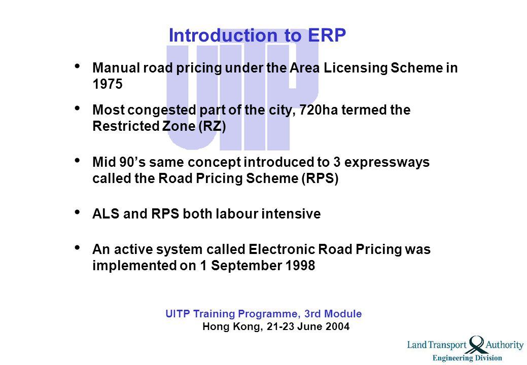 UITP Training Programme, 3rd Module Hong Kong, 21-23 June 2004 Part II Electronic Road Pricing (ERP)