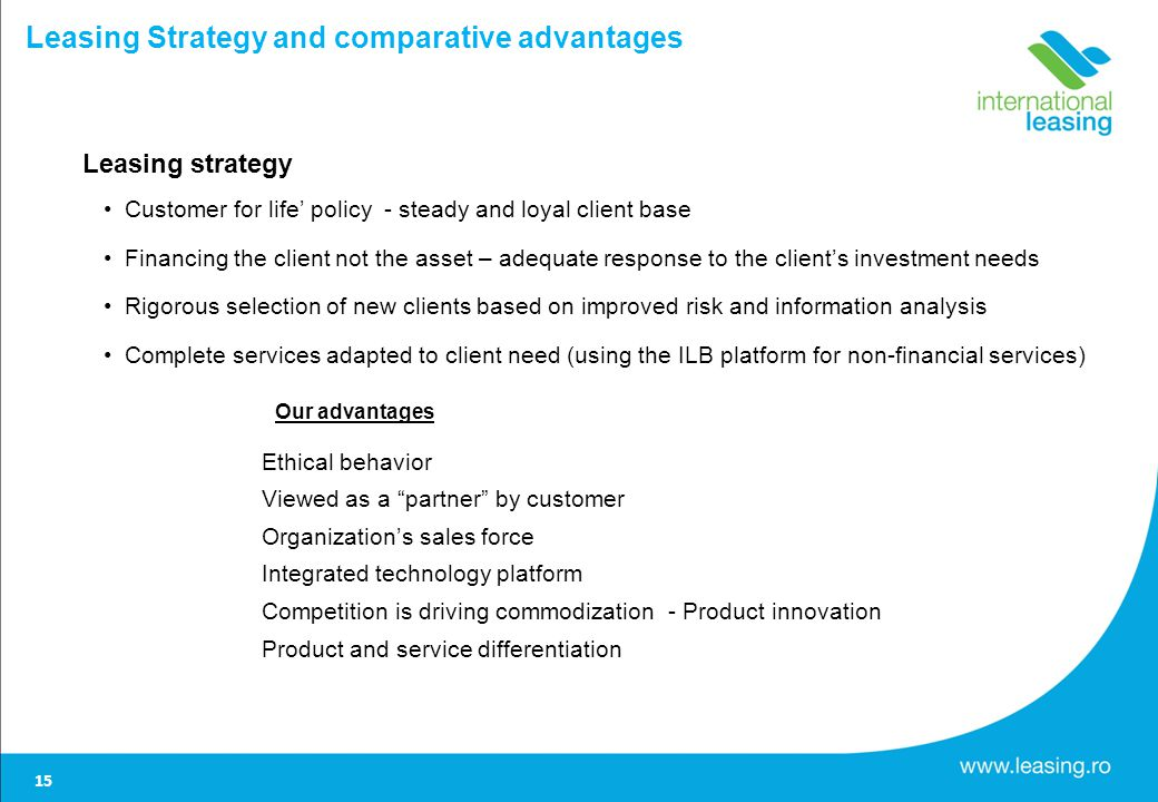 Leasing Strategy and comparative advantages Leasing strategy Customer for life policy - steady and loyal client base Financing the client not the asset – adequate response to the clients investment needs Rigorous selection of new clients based on improved risk and information analysis Complete services adapted to client need (using the ILB platform for non-financial services) Our advantages Ethical behavior Viewed as a partner by customer Organizations sales force Integrated technology platform Competition is driving commodization - Product innovation Product and service differentiation 15