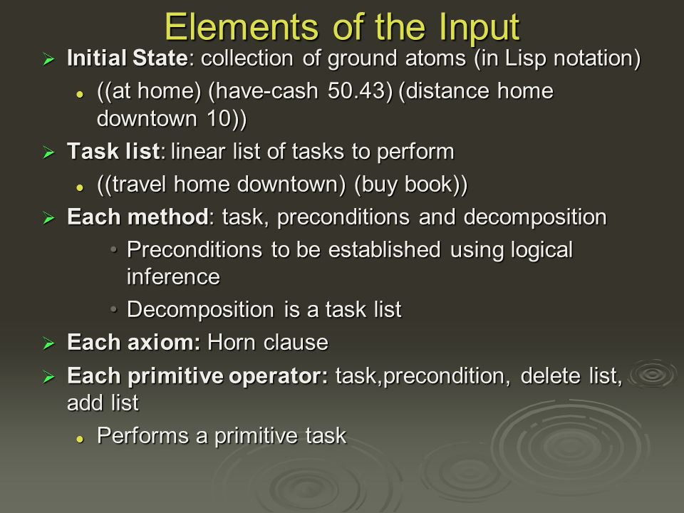 Elements of the Input Initial State: collection of ground atoms (in Lisp notation) Initial State: collection of ground atoms (in Lisp notation) ((at home) (have-cash 50.43) (distance home downtown 10)) ((at home) (have-cash 50.43) (distance home downtown 10)) Task list: linear list of tasks to perform Task list: linear list of tasks to perform ((travel home downtown) (buy book)) ((travel home downtown) (buy book)) Each method: task, preconditions and decomposition Each method: task, preconditions and decomposition Preconditions to be established using logical inferencePreconditions to be established using logical inference Decomposition is a task listDecomposition is a task list Each axiom: Horn clause Each axiom: Horn clause Each primitive operator: task,precondition, delete list, add list Each primitive operator: task,precondition, delete list, add list Performs a primitive task Performs a primitive task