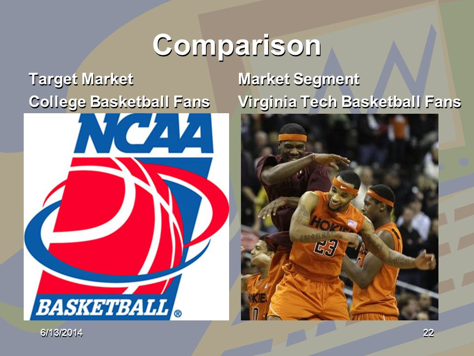 Comparison Target Market College Basketball Fans Target Market College Basketball Fans Market Segment Virginia Tech Basketball Fans Market Segment Virginia Tech Basketball Fans 6/13/201422