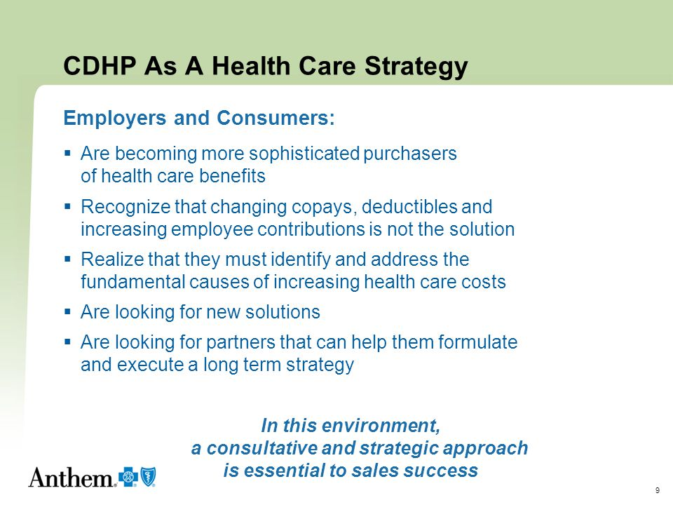 10 With 66% of employers considering CDHP … … can you afford to be on the sidelines.