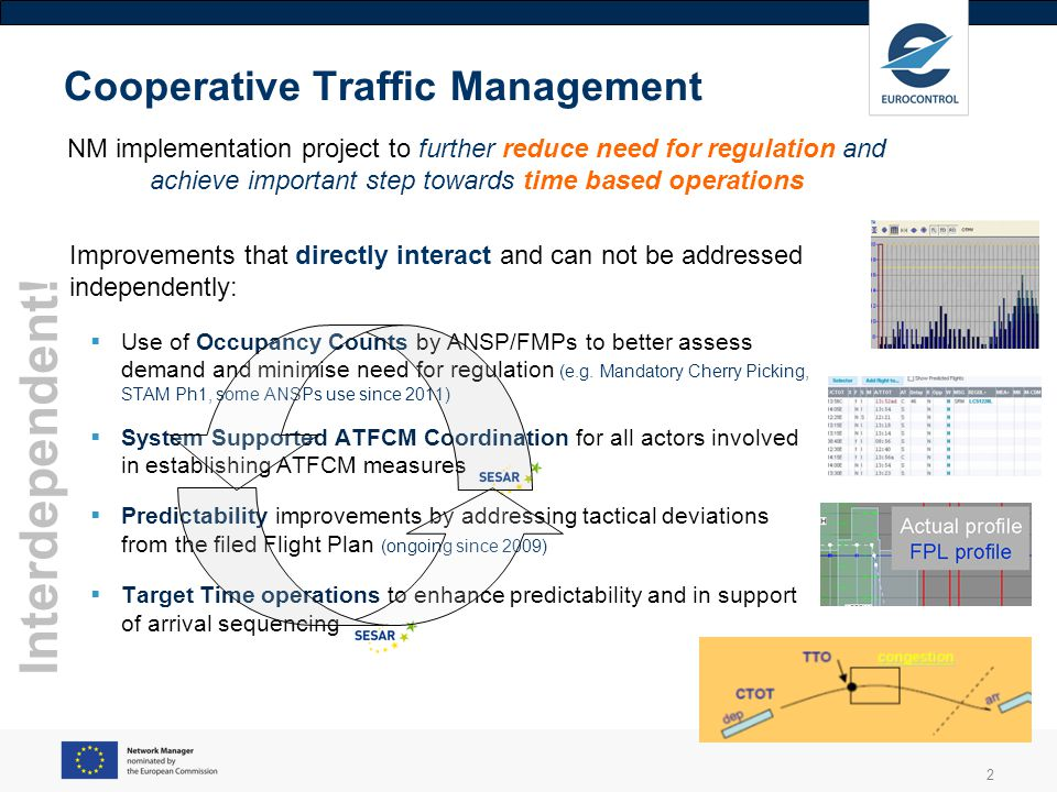 2 Cooperative Traffic Management Improvements that directly interact and can not be addressed independently: Use of Occupancy Counts by ANSP/FMPs to b