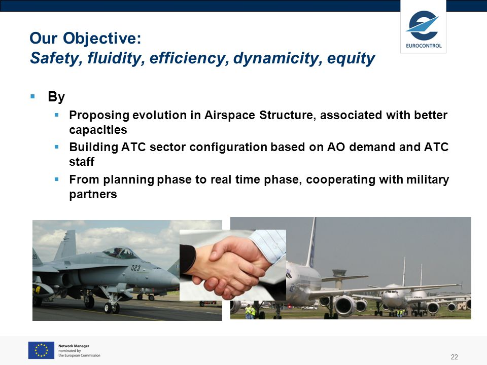 22 Our Objective: Safety, fluidity, efficiency, dynamicity, equity By Proposing evolution in Airspace Structure, associated with better capacities Bui