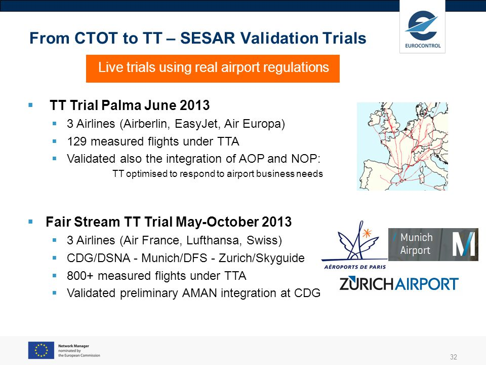 32 From CTOT to TT – SESAR Validation Trials Live trials using real airport regulations TT Trial Palma June 2013 3 Airlines (Airberlin, EasyJet, Air E