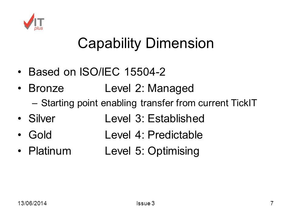 13/06/2014Issue 37 Capability Dimension Based on ISO/IEC Bronze Level 2: Managed –Starting point enabling transfer from current TickIT SilverLevel 3: Established GoldLevel 4: Predictable PlatinumLevel 5: Optimising