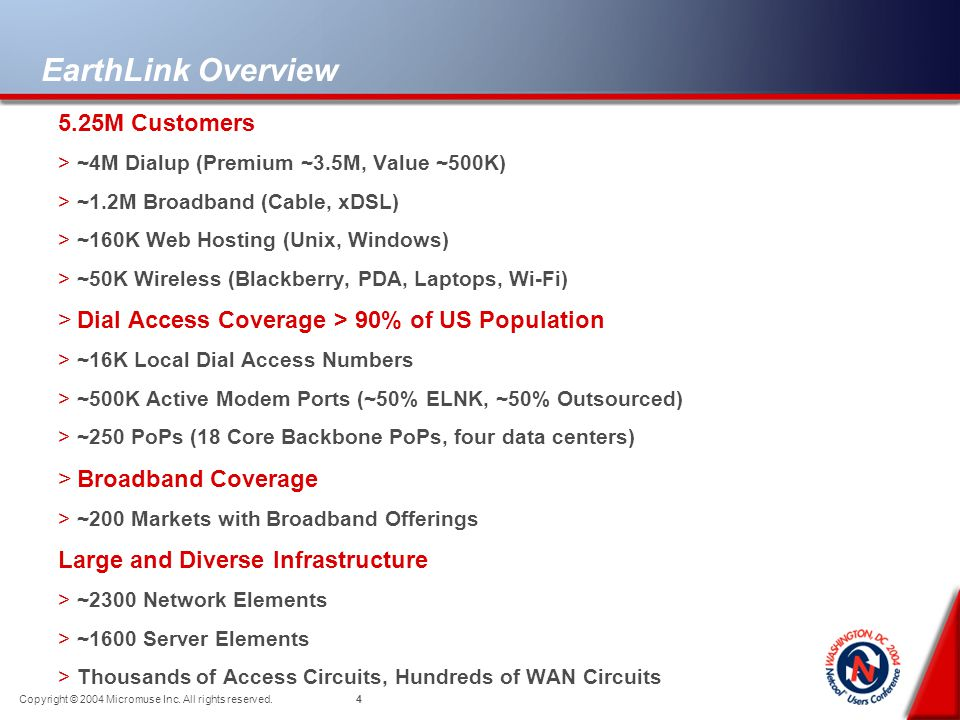 3 Copyright © 2004 Micromuse Inc. All rights reserved. EarthLink Overview >One of the Nations Largest ISPs >Headquarters in Atlanta, GA >Key facilitie