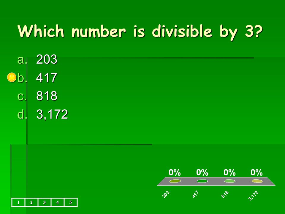 36,521 is divisible by… a.3,6,9 b.3,5,6,9 c.2,3,5,6,9 d.none 12345
