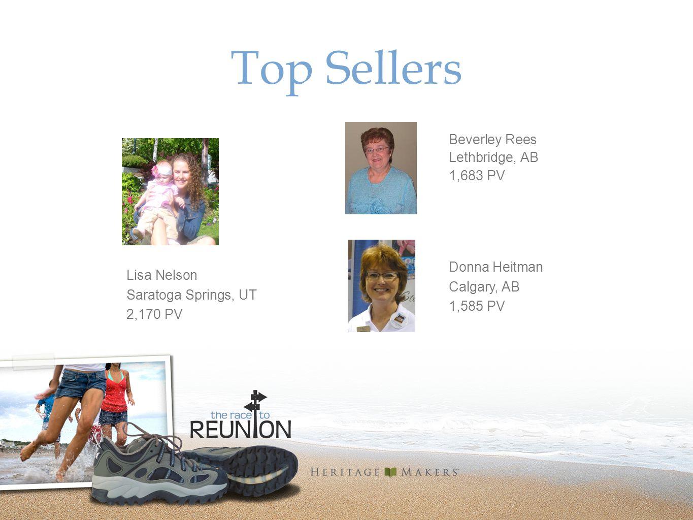 Top Sellers Beverley Rees Lethbridge, AB 1,683 PV Lisa Nelson Saratoga Springs, UT 2,170 PV Donna Heitman Calgary, AB 1,585 PV