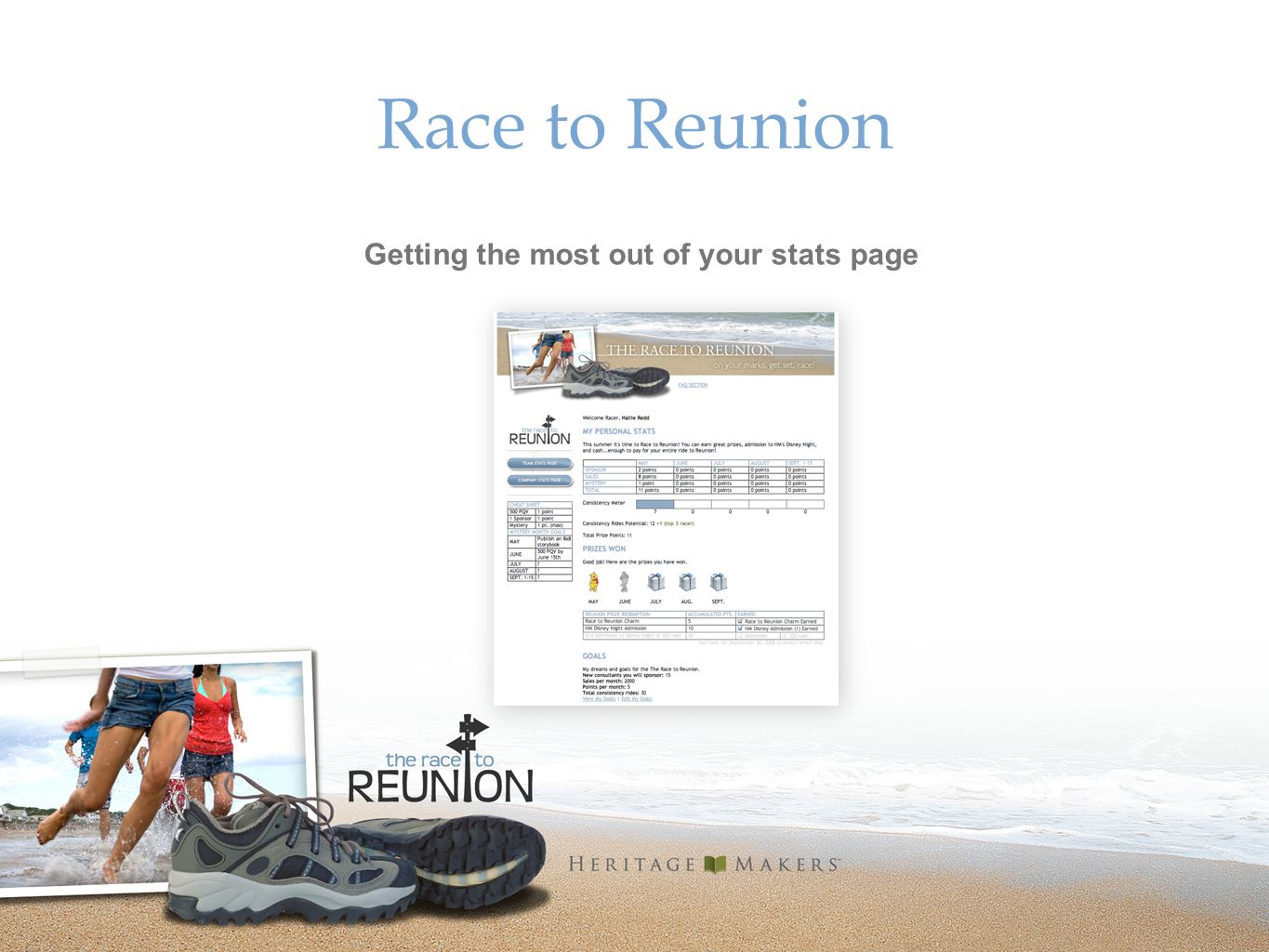 Race to Reunion Getting the most out of your stats page