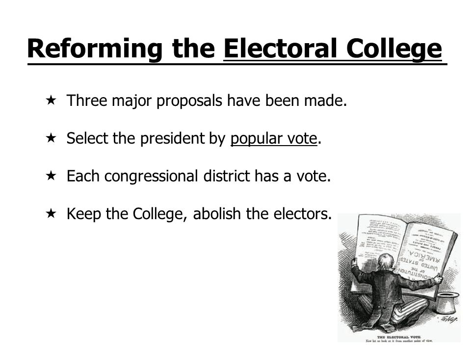 Reforming the Electoral College Three major proposals have been made.