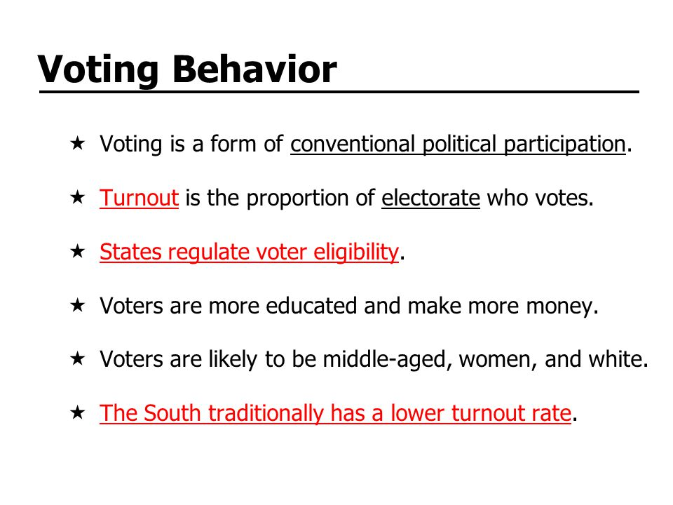 Voting Behavior Voting is a form of conventional political participation.