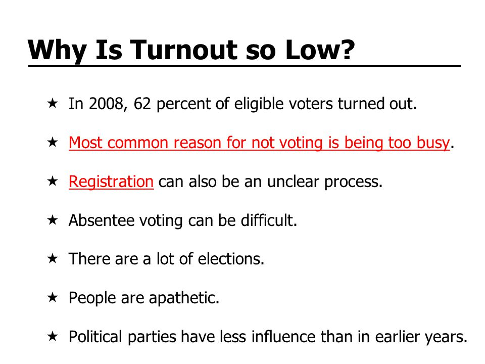 Why Is Turnout so Low. In 2008, 62 percent of eligible voters turned out.