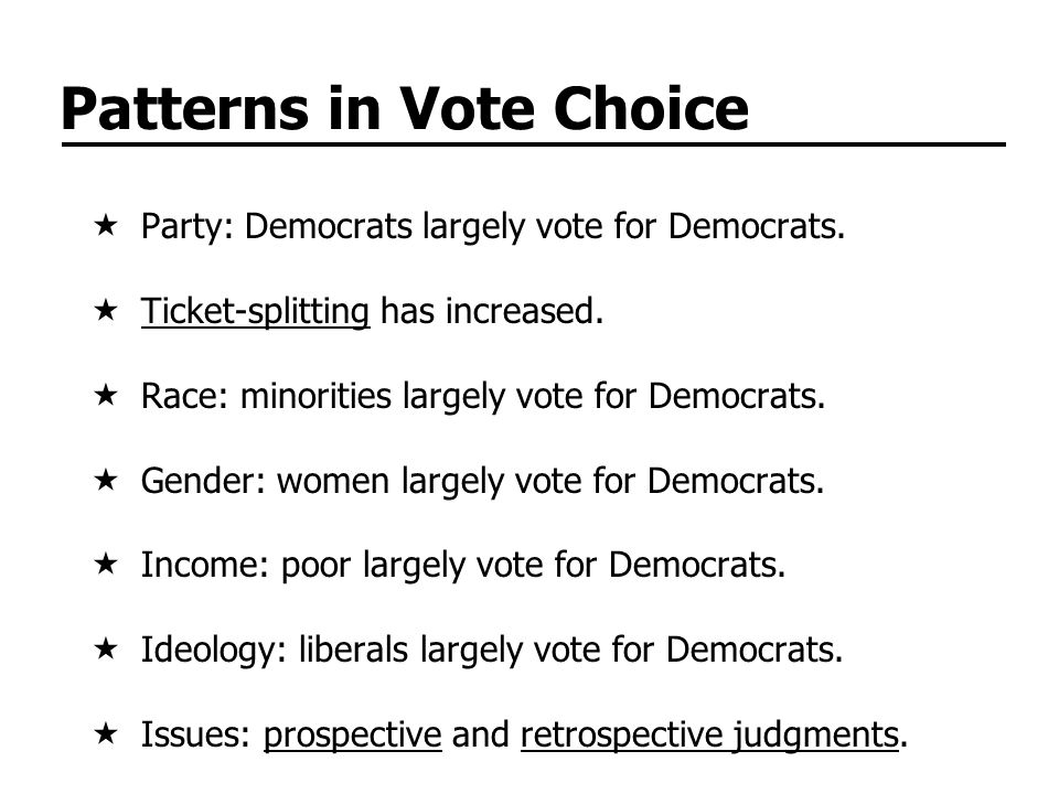 Patterns in Vote Choice Party: Democrats largely vote for Democrats.