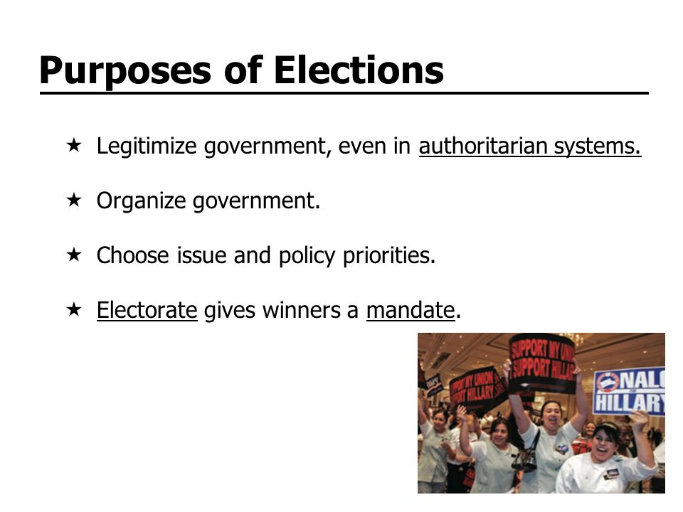 Purposes of Elections Legitimize government, even in authoritarian systems.