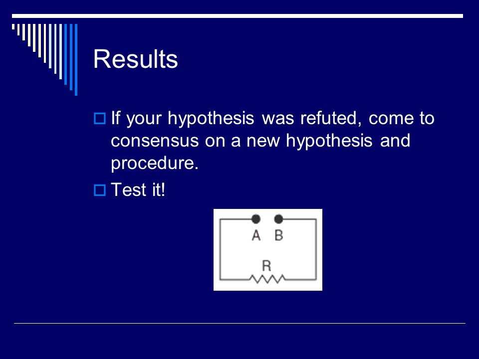 Results If your hypothesis was refuted, come to consensus on a new hypothesis and procedure.