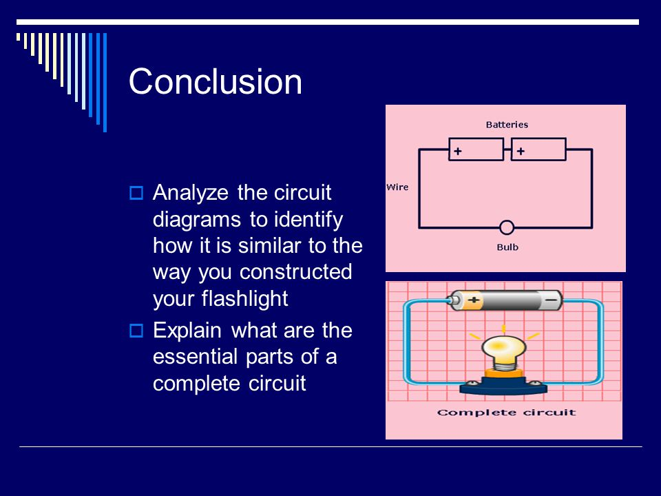 Conclusion Analyze the circuit diagrams to identify how it is similar to the way you constructed your flashlight Explain what are the essential parts of a complete circuit