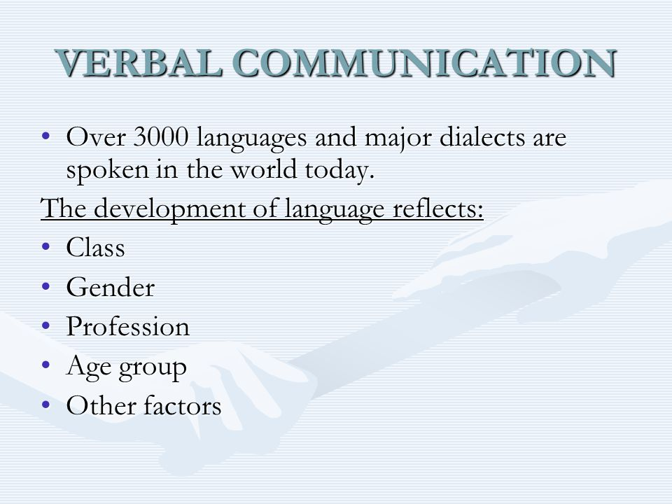 VERBAL COMMUNICATION Over 3000 languages and major dialects are spoken in the world today.Over 3000 languages and major dialects are spoken in the world today.