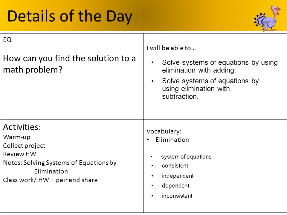 Details of the Day EQ How can you find the solution to a math problem? I will be able to… Activities: Warm-up Collect project Review HW Notes: Solving