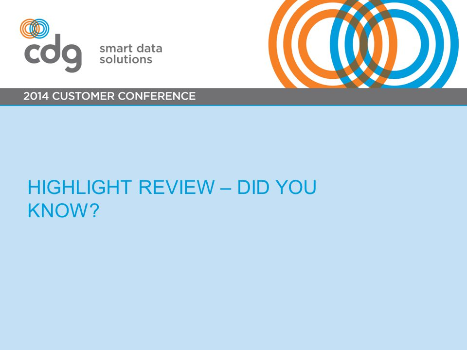 HIGHLIGHT REVIEW – DID YOU KNOW?