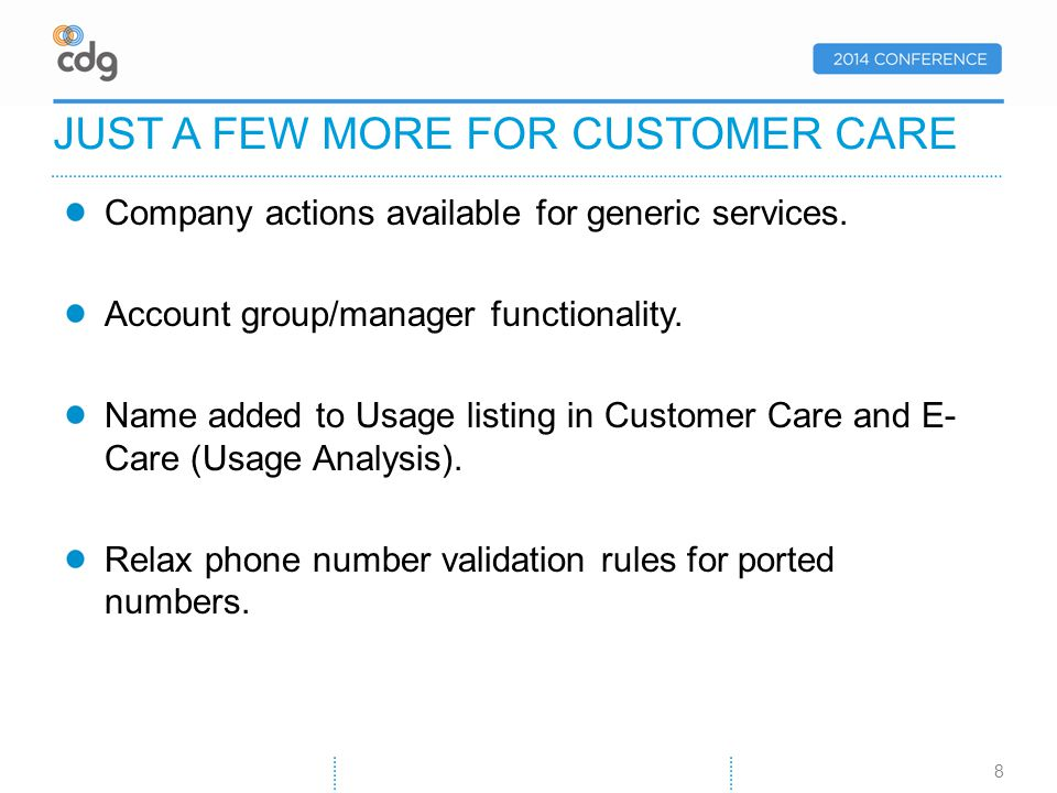 Company actions available for generic services. Account group/manager functionality.