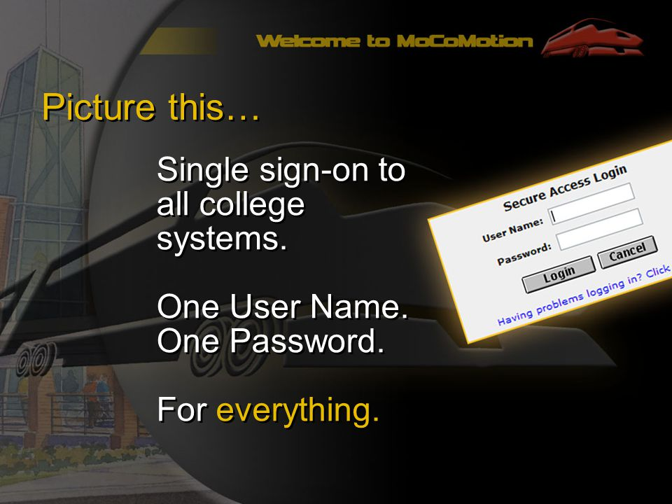 Picture this… Single sign-on to all college systems.