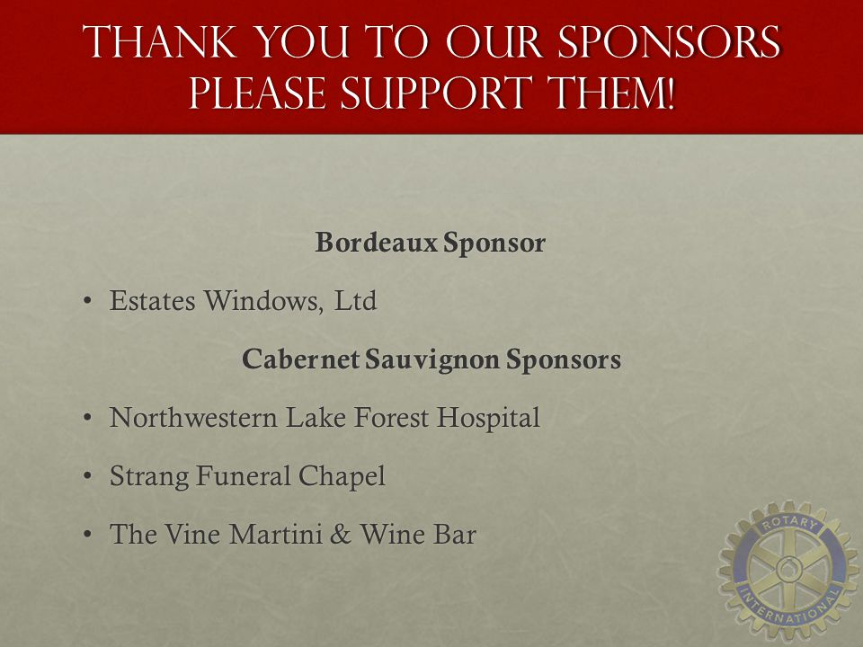 Thank you to our sponsors Please Support Them.